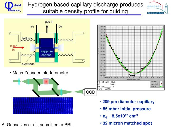 Hydrogen based capillary discharge produces suitable density profile for guiding