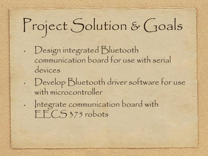 Project Solution & Goals