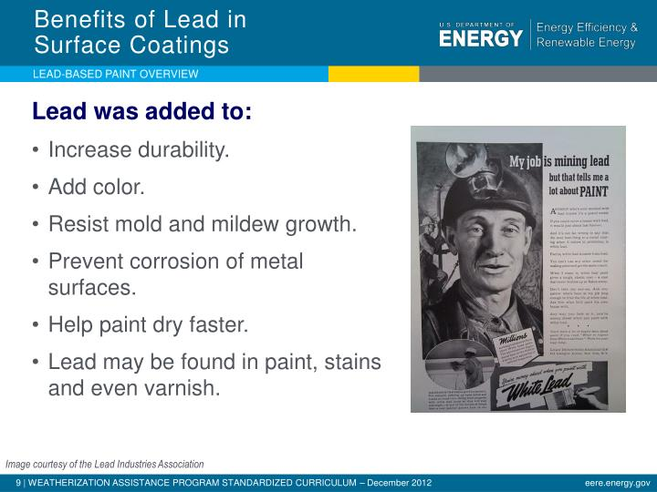 Benefits of Lead in          Surface Coatings