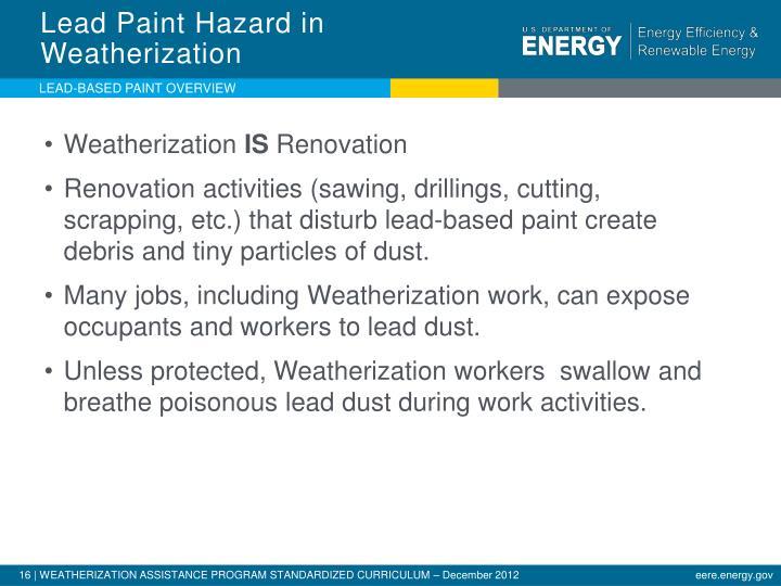 Lead Paint Hazard in