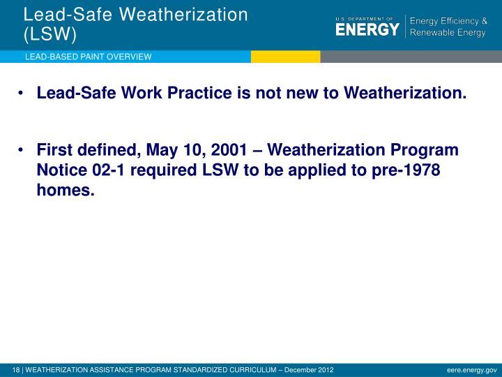 Lead-Safe Weatherization (LSW)