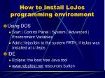 how to install lejos programming environment