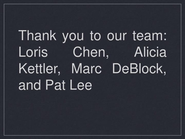 Thank you to our team: Loris Chen, Alicia Kettler, Marc DeBlock, and Pat Lee