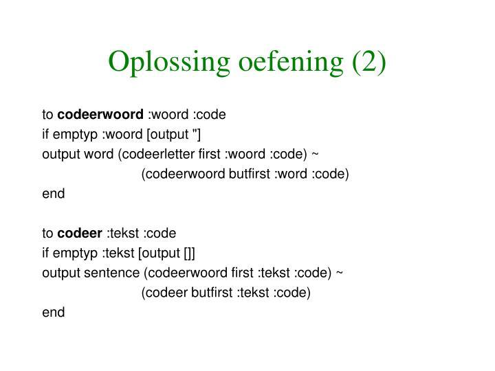 Oplossing oefening (2)