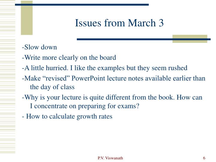 Issues from March 3