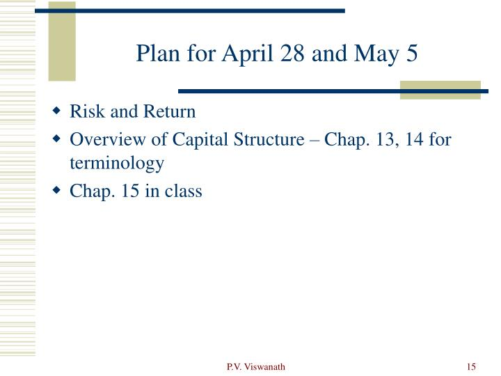 Plan for April 28 and May 5