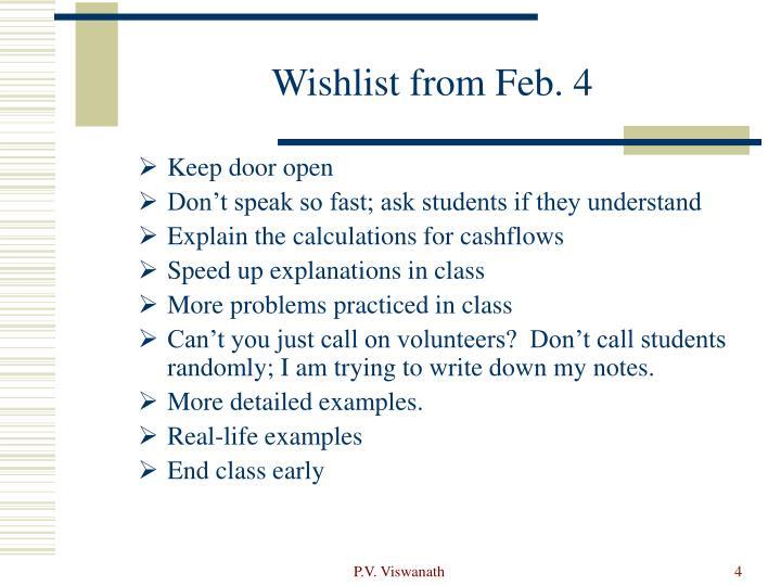 Wishlist from Feb. 4