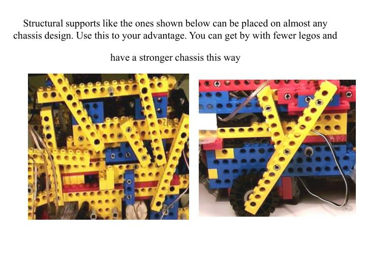 Structural supports like the ones shown below can be placed on almost any chassis design. Use this to your advantage. You can get by with fewer legos and have a stronger chassis this way