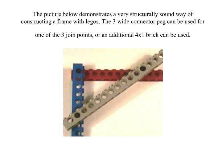 The picture below demonstrates a very structurally sound way of constructing a frame with legos. The 3 wide connector peg can be used for one of the 3 join points, or an additional 4x1 brick can be used.