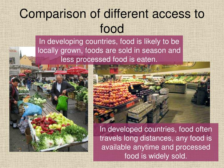 Comparison of different access to food