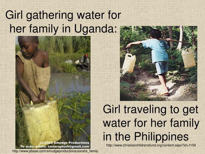 Girl gathering water for her family in Uganda: