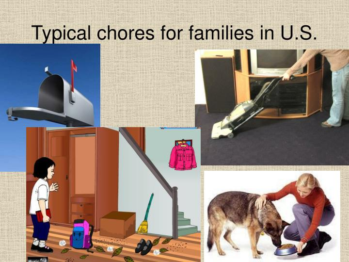 Typical chores for families in U.S.