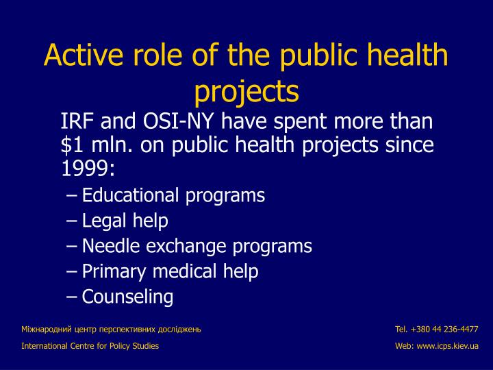 Active role of the public health projects