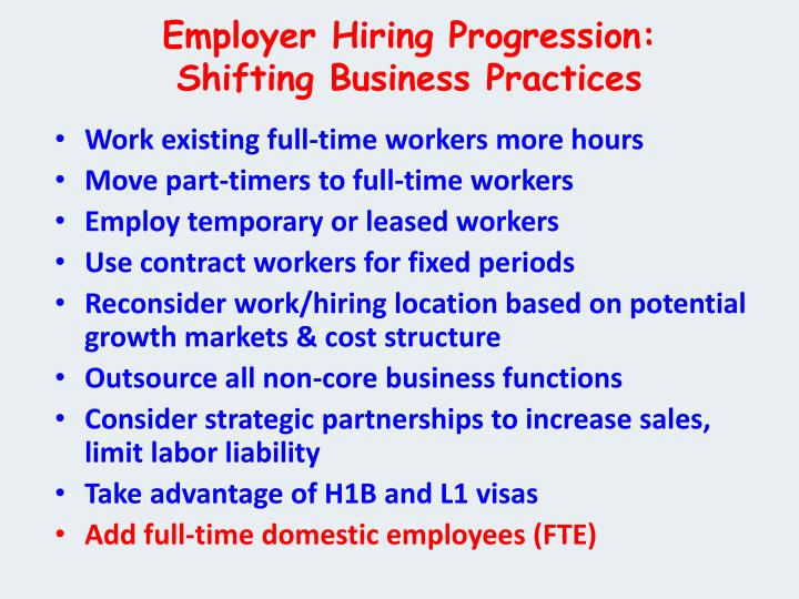 Employer Hiring Progression: