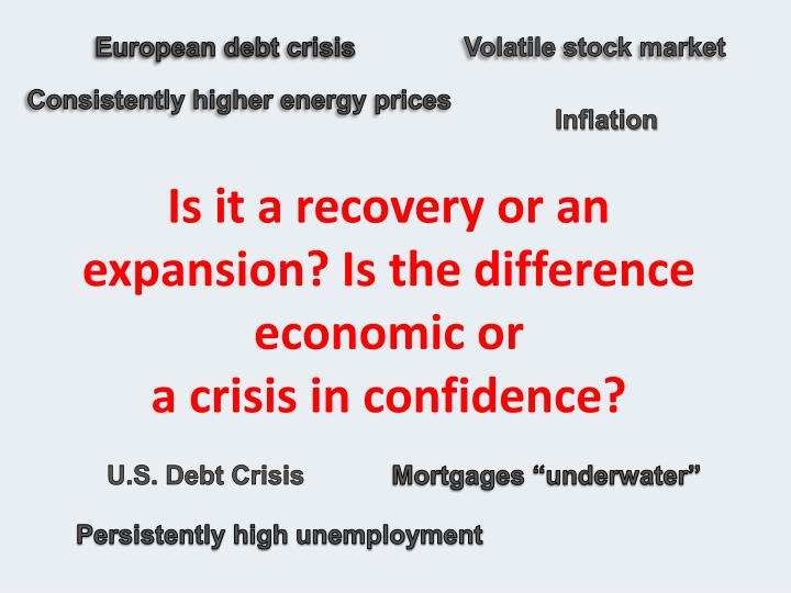 Is it a recovery or an expansion is the difference economic or a crisis in confidence
