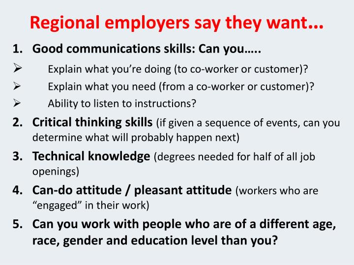 Regional employers say they want