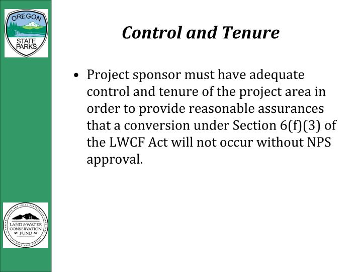 Control and Tenure
