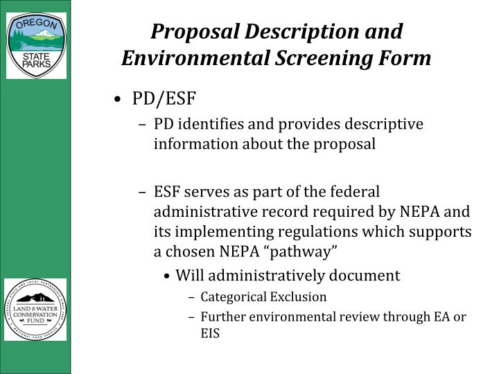 Proposal Description and Environmental Screening Form
