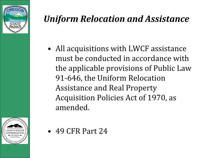Uniform Relocation and Assistance