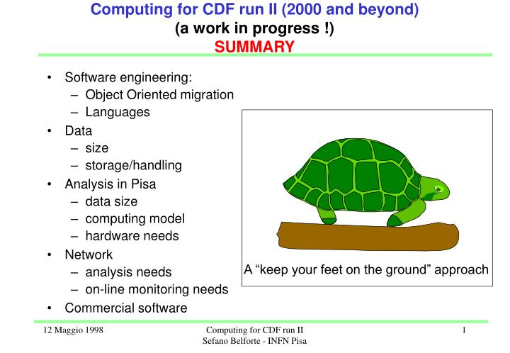 computing for cdf run ii 2000 and beyond a work in progress summary