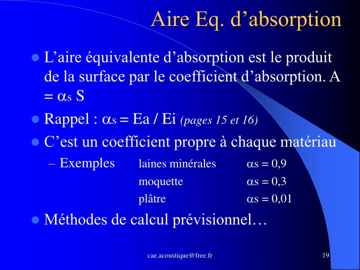 Aire Eq. d'absorption