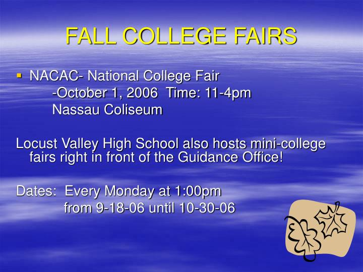 FALL COLLEGE FAIRS