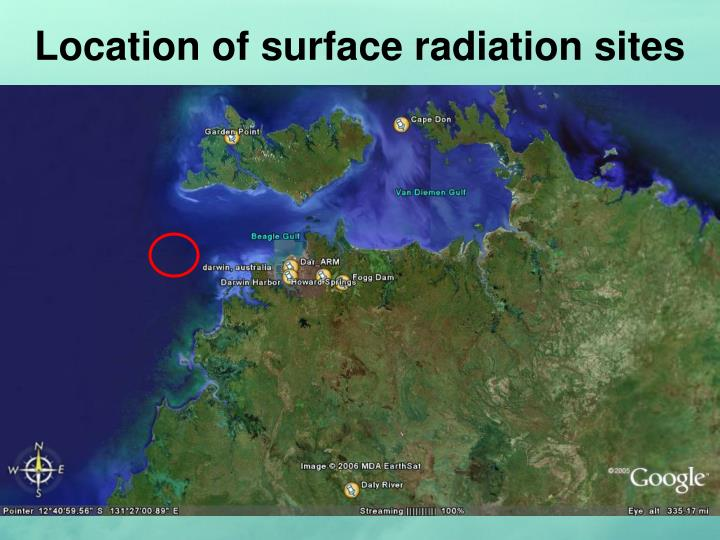 Location of surface radiation sites