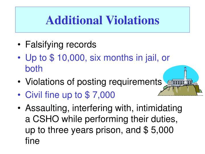 Additional Violations
