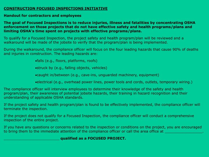 CONSTRUCTION FOCUSED INSPECTIONS INITIATIVE