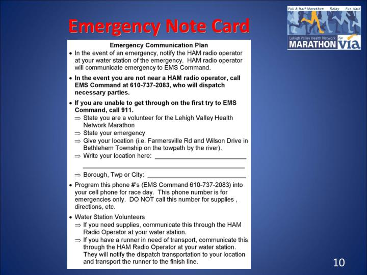 Emergency Note Card