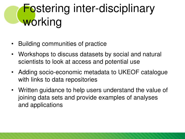 Fostering inter-disciplinary working