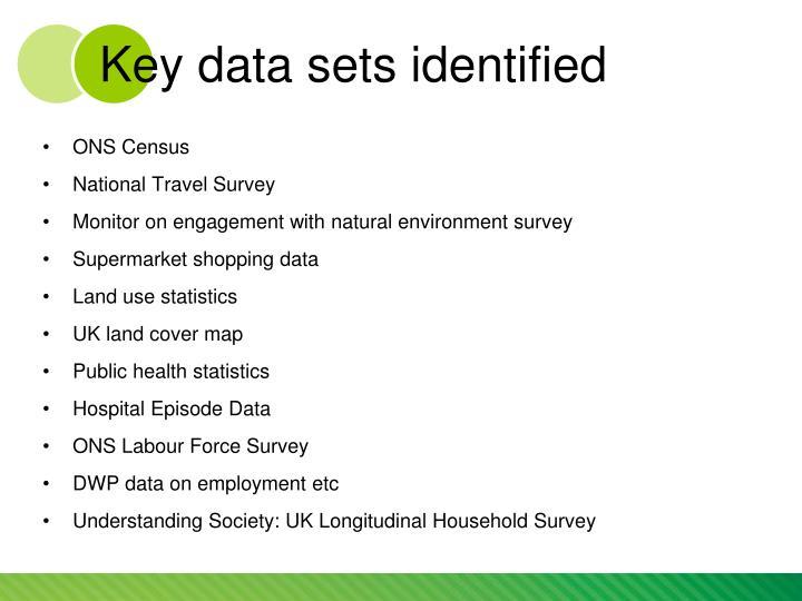 Key data sets identified