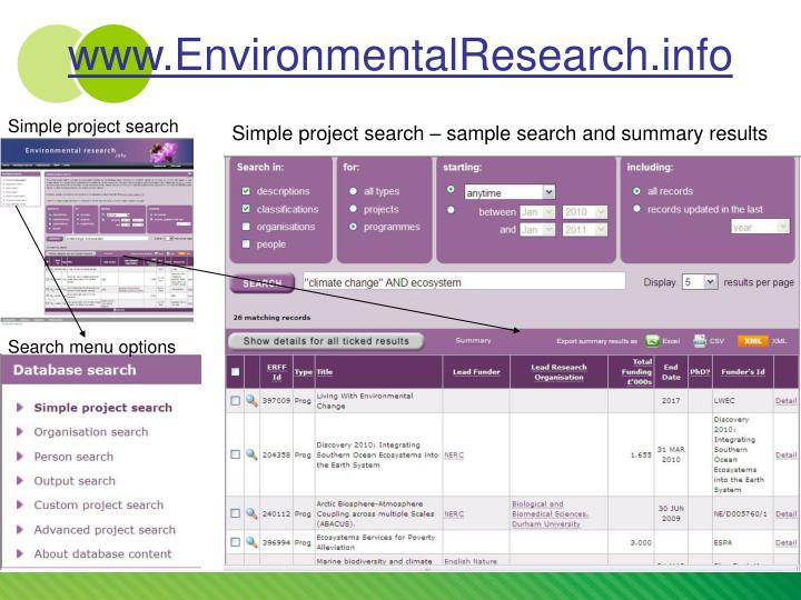 www.EnvironmentalResearch.info