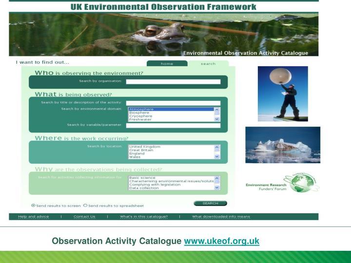 Observation Activity Catalogue