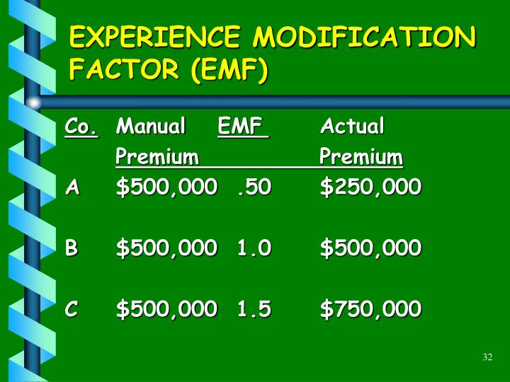 EXPERIENCE MODIFICATION FACTOR (EMF)