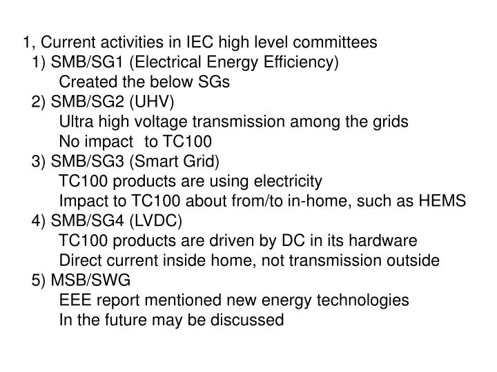 1, Current activities in IEC high level committees