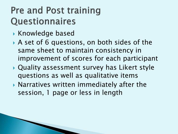 Pre and Post training Questionnaires