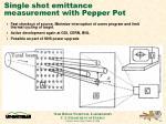 single shot emittance measurement with pepper pot