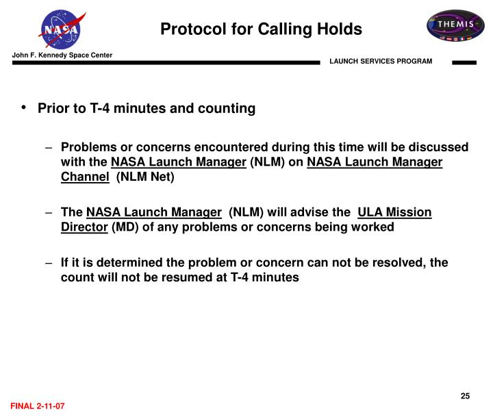 Protocol for Calling Holds