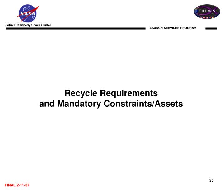 Recycle Requirements