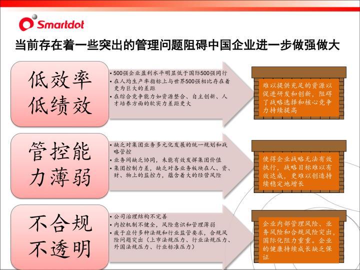 当前存在着一些突出的管理问题阻碍中国企业进一步做强做大