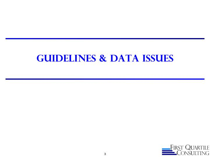 Guidelines data issues