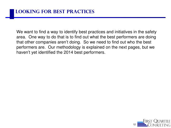 Looking for Best Practices
