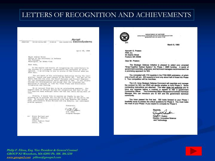 LETTERS OF RECOGNITION AND ACHIEVEMENTS