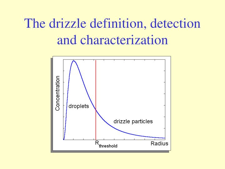 The drizzle definition detection and characterization