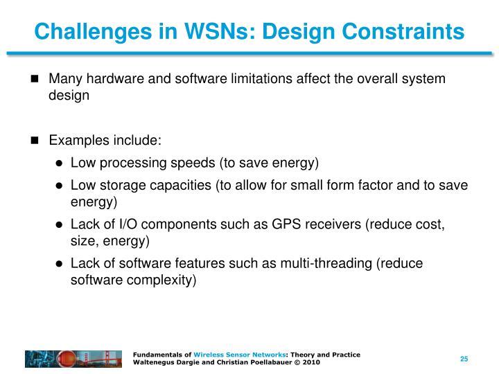 Challenges in WSNs: Design Constraints