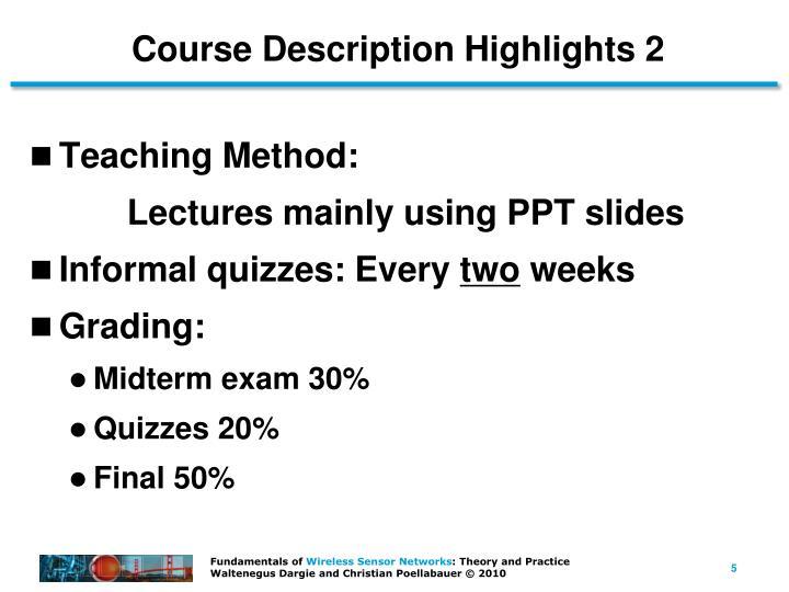 Course Description Highlights 2