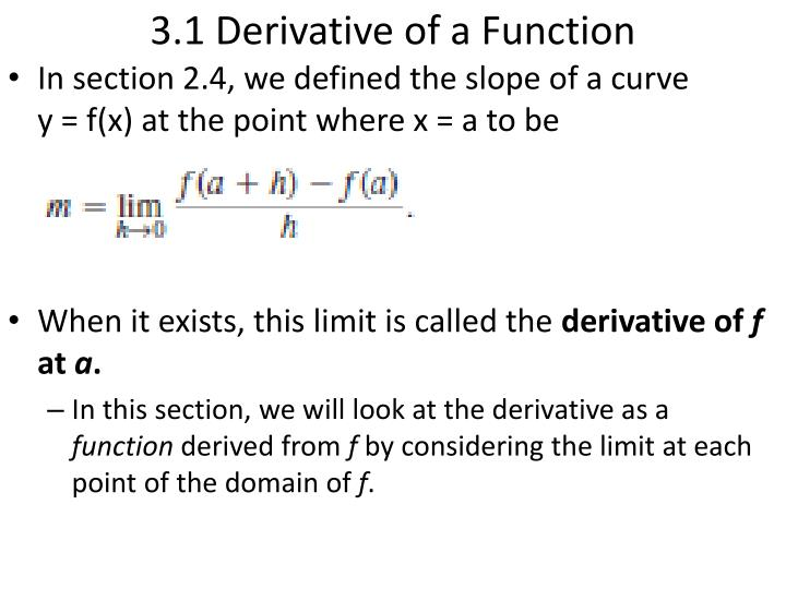 3 1 derivative of a function