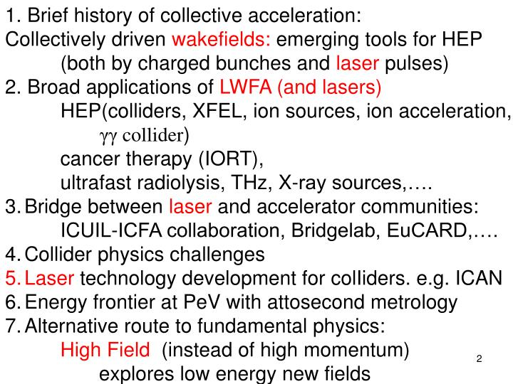 1. Brief history of collective acceleration: