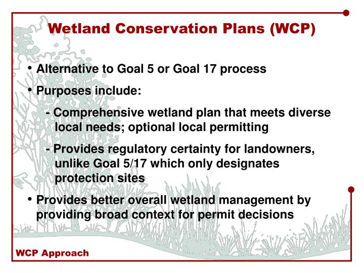 Wetland Conservation Plans (WCP)